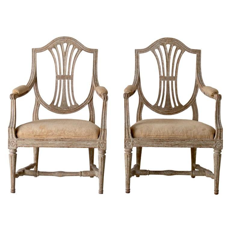 Armchairs Pair of Swedish Gustavian Period Original Paint Sweden For Sale