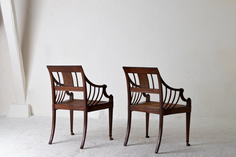 Armchairs Pair of Swedish Neoclassical Mahogany, Early 19th Century, Sweden For Sale 6