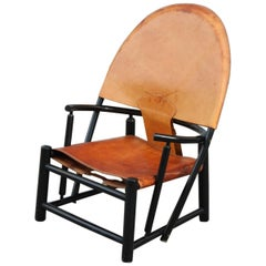 Armchairs Piero Palange Werther Toffoloni for Germa 1970 Leather Black Wood
