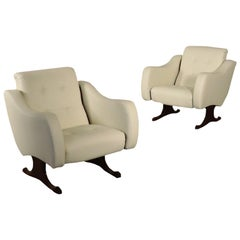 Armchairs, Rosewood Foam Brass and Leatherette, Italy, 1960s