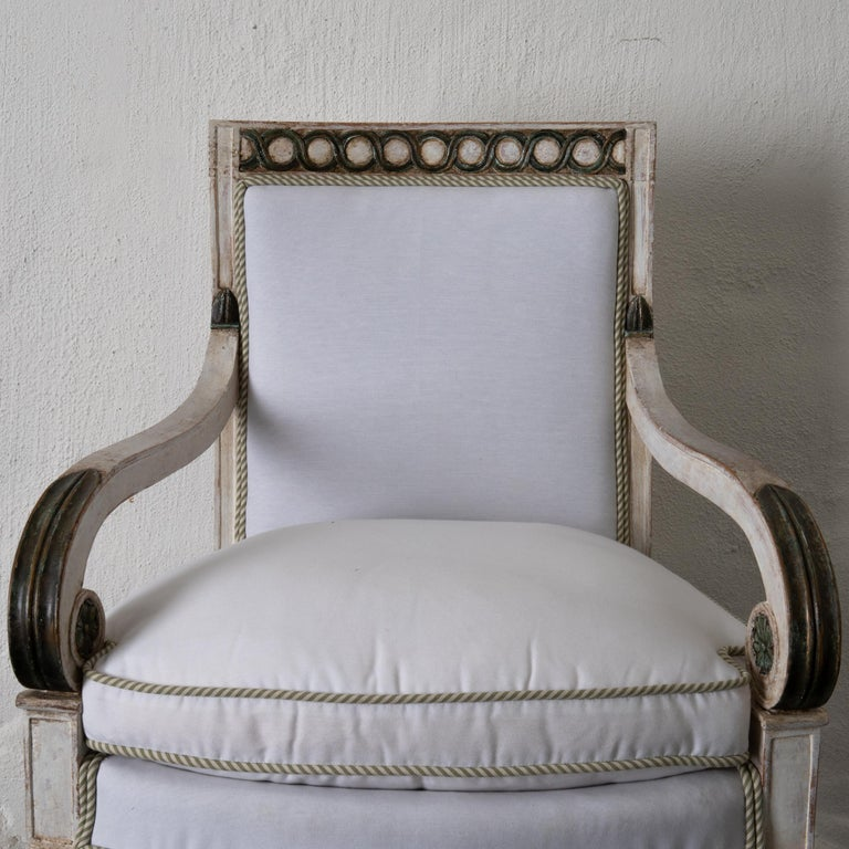 Armchairs Set of 4 French White Green Empire Chairs France For Sale 7