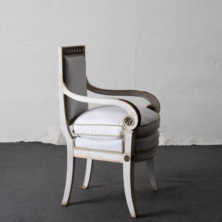 19th Century Armchairs Set of 4 French White Green Empire Chairs France For Sale