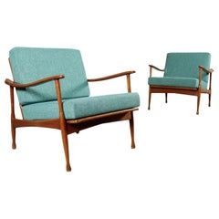 Armchairs Stained Beechwood Foam Fabric, 1960s
