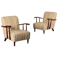Armchairs, Stained Wood, Italy, 1940s-1950s