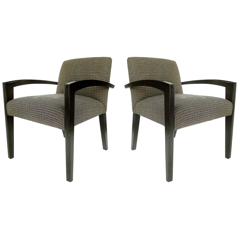 Dakota Jackson Style Armchairs with Ebonized Wood Frames
