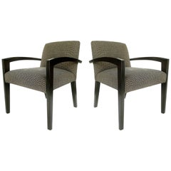 Dakota Jackson Style Armchairs with Ebonized Wood Frames