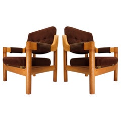 Armchairs with Robust Oak Wooden Frame, the Netherlands, 1960s
