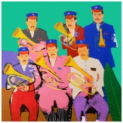 'Armed and Dangerous' Portrait Painting by Alan Fears Brass Band Pop Art