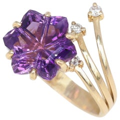 Amethyst Hexagon Diamonds Yellow Gold Forget Me Not Flower Ring Whimsical, 2010