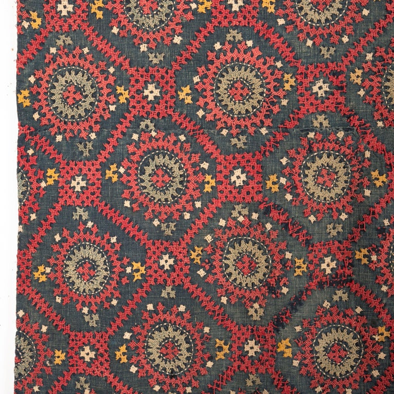 Suzani Armenian Marash Embroidery Fragment, Late 19th-Early 20th Century For Sale