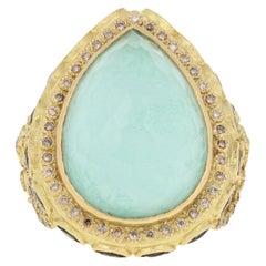 Armenta 21.13ctw Multi-Gemstone Halo Ring 18k Gold Quartz w/ Turquoise Sapphires