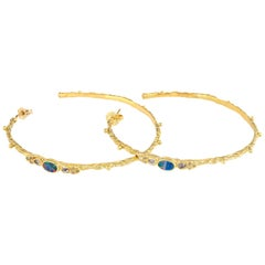 Armenta Large Hoop Earrings Opal Estate 18 Karat Yellow Gold Fine Jewelry