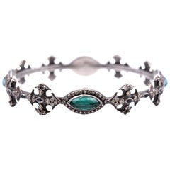 Armenta New World Sterling Silver, Malachite, Sapphire, Champagne Diamond Band