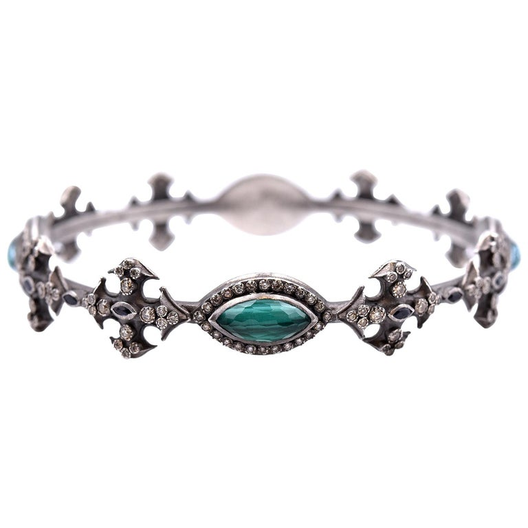 Armenta New World Sterling Silver, Malachite, Sapphire, Champagne Diamond Band For Sale