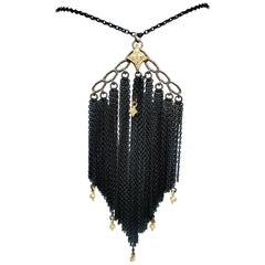 Armenta Old World Mixed Metals 0.05 Carat Round Diamond Pendant Necklace