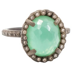 Armenta Oval Chrysoprase and Moon Quartz Doublet Ring, Style 10695