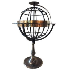 Armillary Sphere in Wrought Iron and Brass, circa 1850