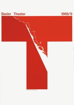 """Basler Theater 1968/9"" Swiss Graphic Design Typography Original Vintage Poster"