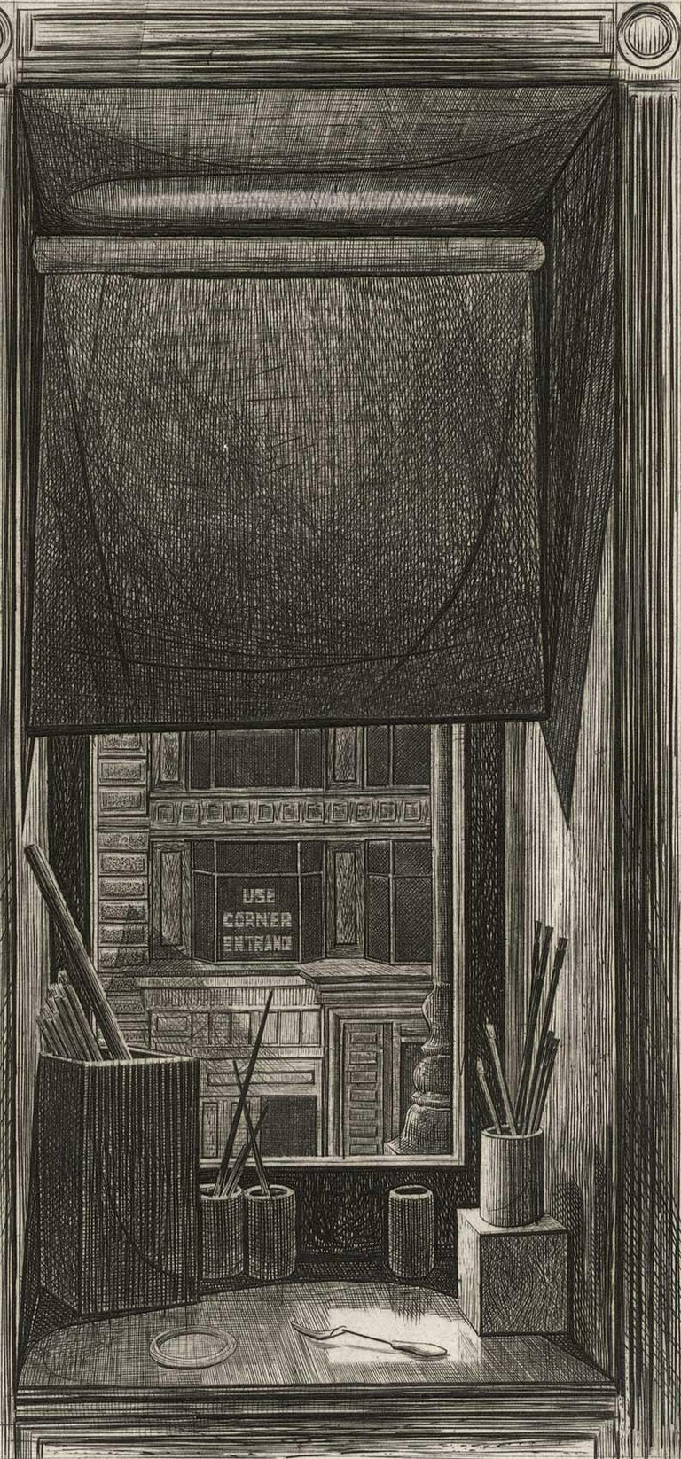 Armin Landeck Interior Print - Window on 14th Street (Looking through artist's studio window/ brushes on desk)