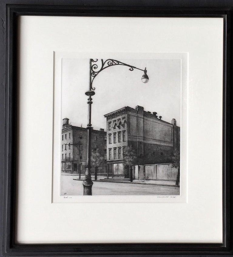 York Avenue Tenements.  - Gray Landscape Print by Armin Landeck