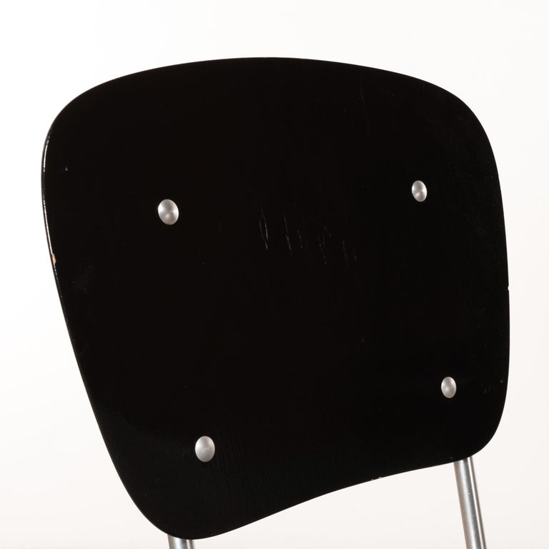 Armin Wirth Early Folding Stacking Chair in Black Plywood / Aluminum for Aluflex For Sale 5