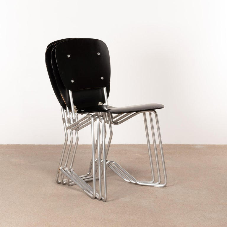 Mid-Century Modern Armin Wirth Early Folding Stacking Chair in Black Plywood / Aluminum for Aluflex For Sale