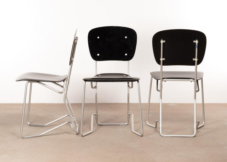 Mid-20th Century Armin Wirth Early Folding Stacking Chair in Black Plywood / Aluminum for Aluflex For Sale