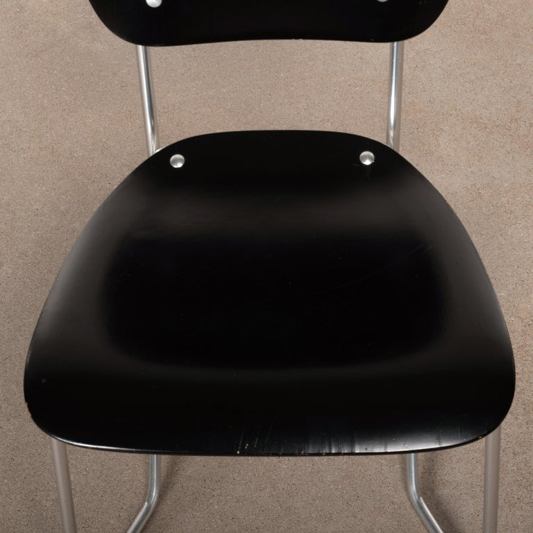 Armin Wirth Early Folding Stacking Chair in Black Plywood / Aluminum for Aluflex For Sale 3