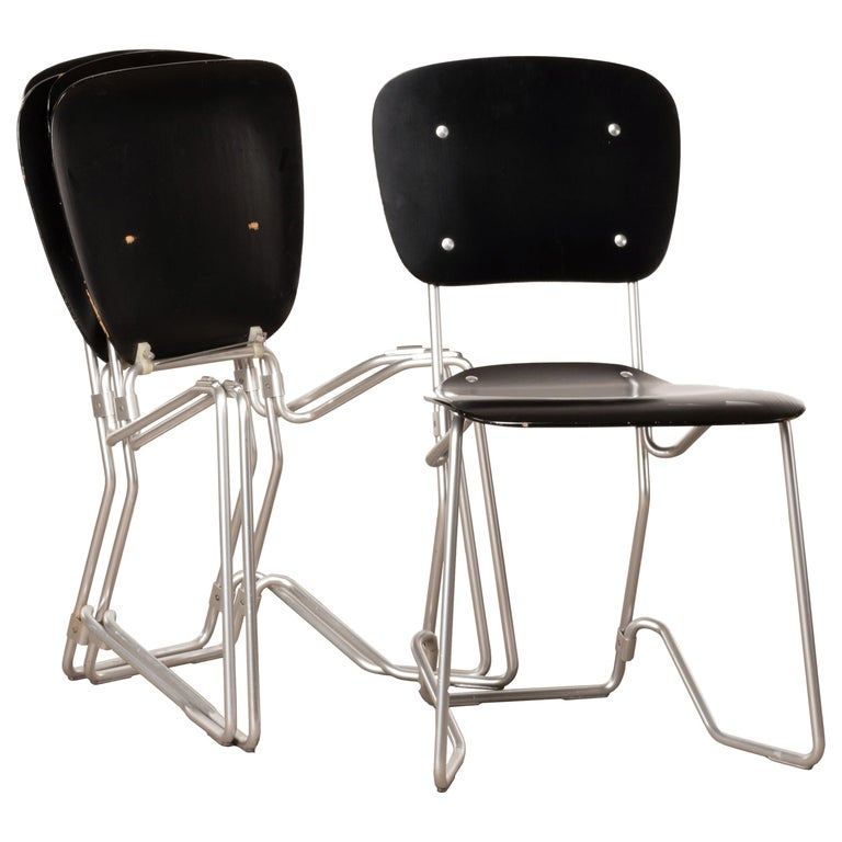 Armin Wirth Early Folding Stacking Chair in Black Plywood / Aluminum for Aluflex For Sale