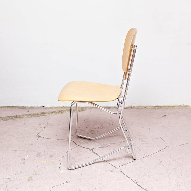 Armin Wirth Mid-Century Modern Metal and Wood Swiss Stackable Chairs for Aluflex In Good Condition For Sale In Barcelona, Barcelona