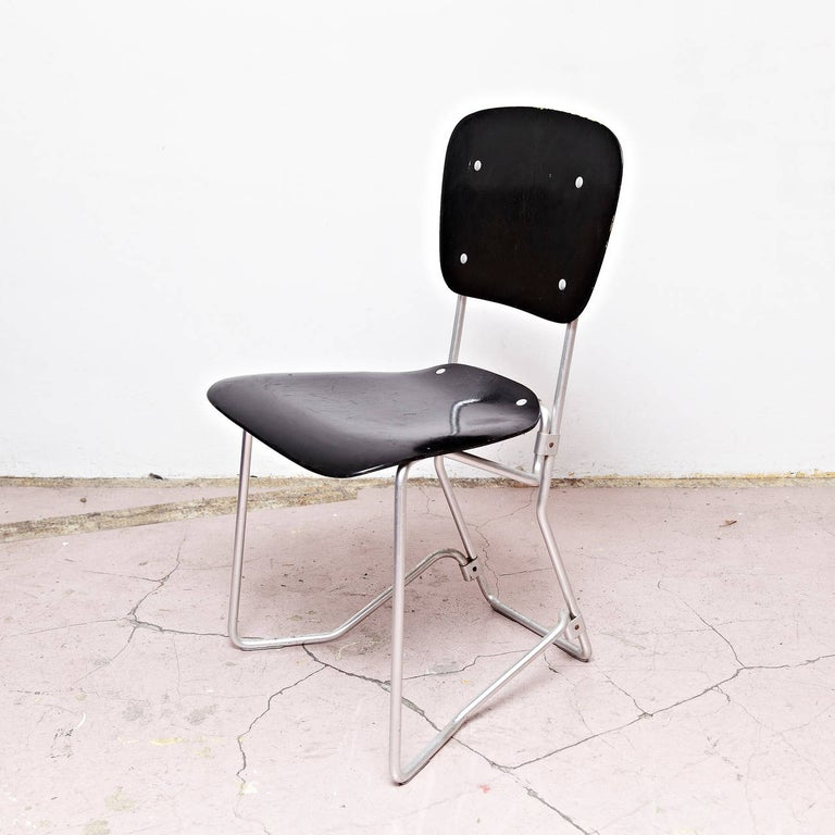 Aluminum Armin Wirth Mid-Century Modern Metal and Wood Swiss Stackable Chairs for Aluflex For Sale