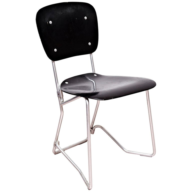 Armin Wirth Mid-Century Modern Metal and Wood Swiss Stackable Chairs for Aluflex For Sale