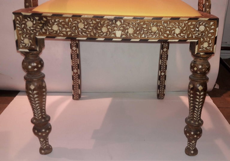 Indian Bone-Inlaid Armchair From India, Mid-20th Century For Sale