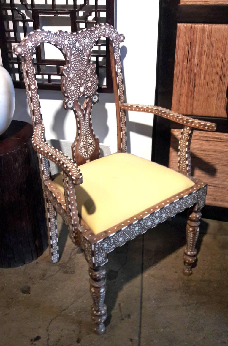 Bone-Inlaid Armchair From India, Mid-20th Century In Good Condition For Sale In New York, NY