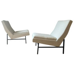Armless Pair of Upholstered Side Chairs by ARP Steiner, France, Midcentury