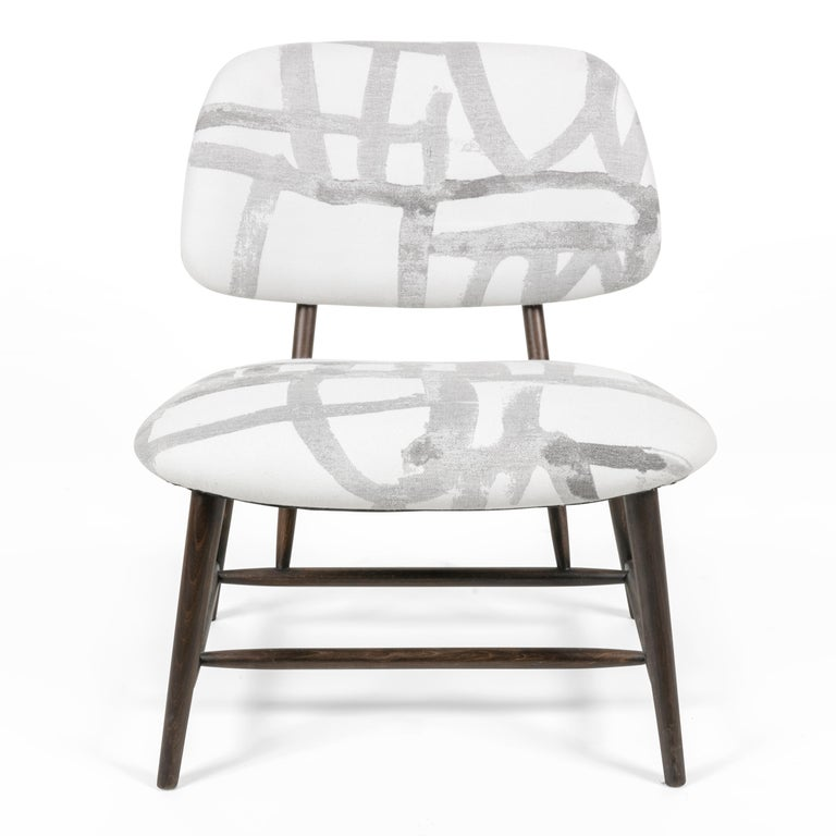Scandinavian Modern Armless Re-upholstered Wood Framed Lounge Chairs, Sweden 1950s For Sale