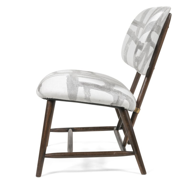 Danish Armless Re-upholstered Wood Framed Lounge Chairs, Sweden 1950s For Sale
