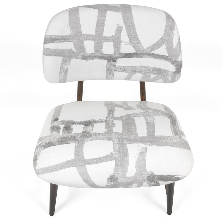 Mid-20th Century Armless Re-upholstered Wood Framed Lounge Chairs, Sweden 1950s For Sale