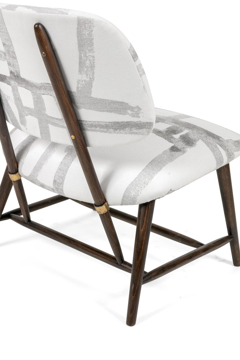 Fabric Armless Re-upholstered Wood Framed Lounge Chairs, Sweden 1950s For Sale