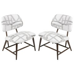 Armless Re-upholstered Wood Framed Lounge Chairs, Sweden 1950s