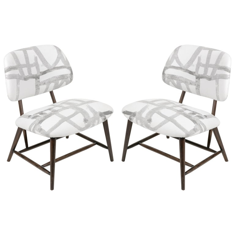Armless Re-upholstered Wood Framed Lounge Chairs, Sweden 1950s For Sale
