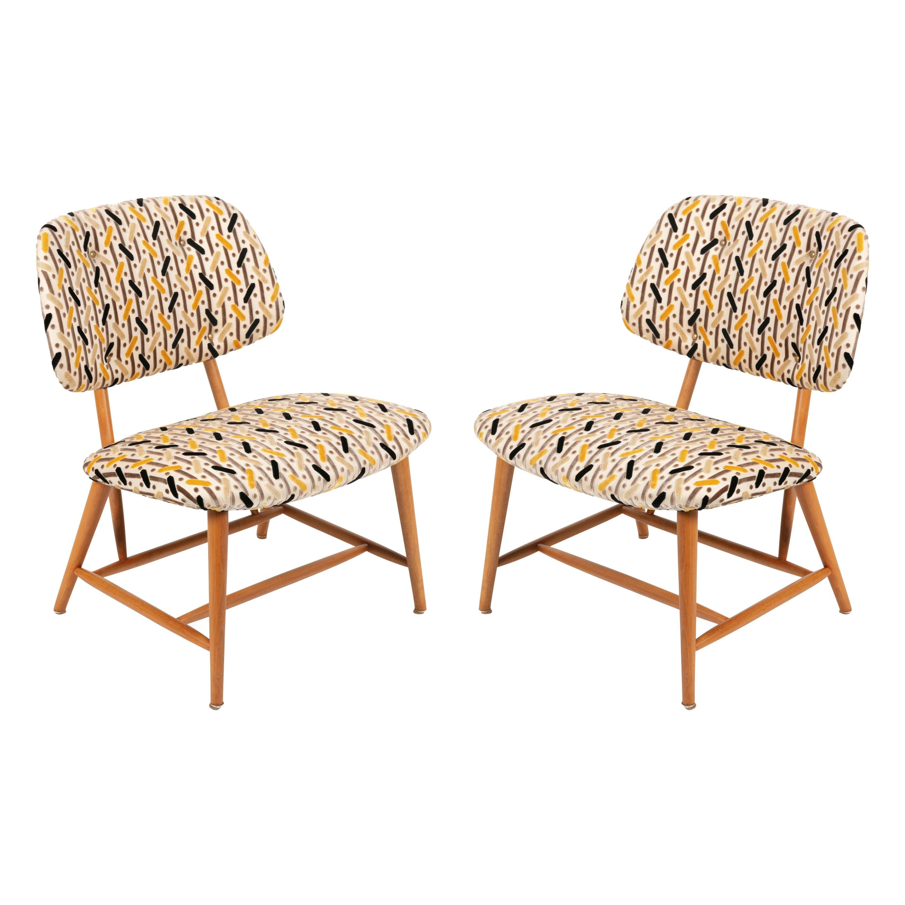 Armless Reupholstered Wood Framed Lounge Chairs, Sweden 1950s