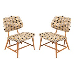Armless Reupholstered Wood Framed Lounge Chairs, Sweden, 1950s