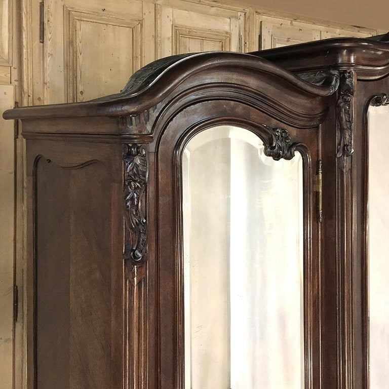Beveled Armoire, 19th Century French Louis XV in Walnut, by Mercier For Sale