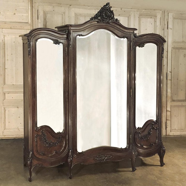 Late 19th Century Armoire, 19th Century French Louis XV in Walnut, by Mercier For Sale