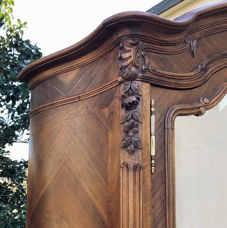 Late 19th Century Armoire, 19th Century French Louis XV in Walnut For Sale
