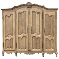 Armoire, Antique Country French with 4 Doors in Stripped Oak