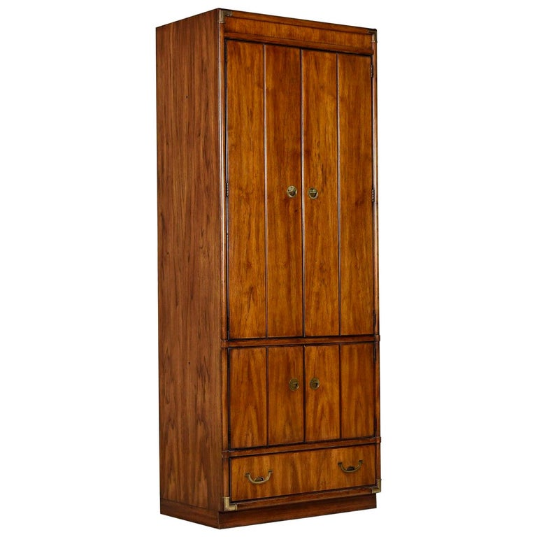 Armoire Bookcase Cabinet by Drexel Heritage Accolade Collection, Campaign Style For Sale