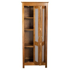 Armoire with 1 Folding Door in Solid Cherry, Stained and Mold Grey Lacquered