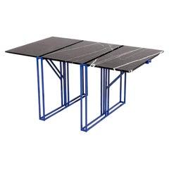 Armombiedro Studio Rectangular Blue Black Metal Marble Dining Table, Spain 2019